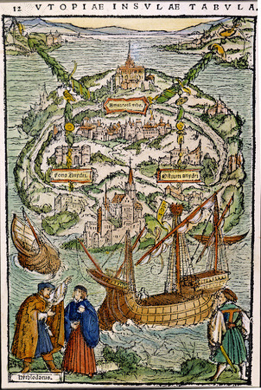 "THE VIEW OF UTOPIA. Colored woodcut from Sir Thomas More's ""Utopia,"" 1518."